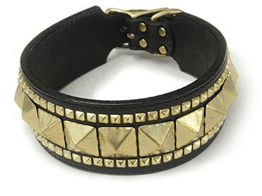 """Auburn Leathercrafters Gatsby Dog Collars-Black with Silver-2-3/8"""" x 18"""
