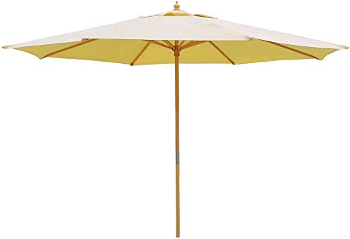 13 Foot Sycamore Wood Khaki Canopy Patio 13' Umbrella Outdoor Furniture Sycamore Wood Pole w/ Pulley
