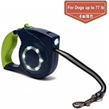 Retractable Dog Leash, Ztent 13 ft Walking Dog Leash with Led Light for Medium Small Dogs up to 77lbs, Tangle Free, One Button Break & Lock (Green)