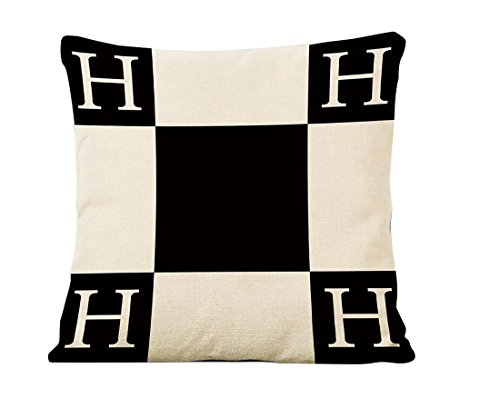 Oitoere H pillow case Logo H Letter Cartoon Classical Geometric Lattice Blend Cushion cases Throw Pillowcase Pillow cover for Sofa Bed 18 Inches × 18 Inches 1Pcs (ME-BZX-1) ()