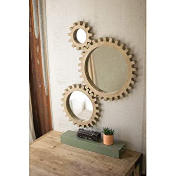 Kalalou Gold Wooden Gears Mirrors, Set of Three