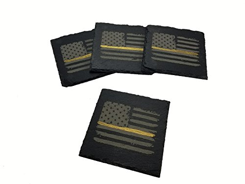 Dispatcher Thin Gold Line Distressed American Flag Slate Coaster Set (Gold Rustic Slate)