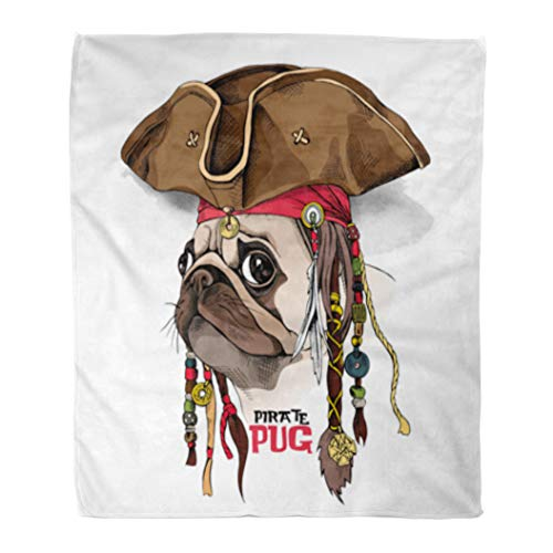 Golee Throw Blanket Brown Dog Portrait of Pug in Pirate Hat Bandana Dreadlocks 50x60 Inches Warm Fuzzy Soft Blanket for Bed Sofa