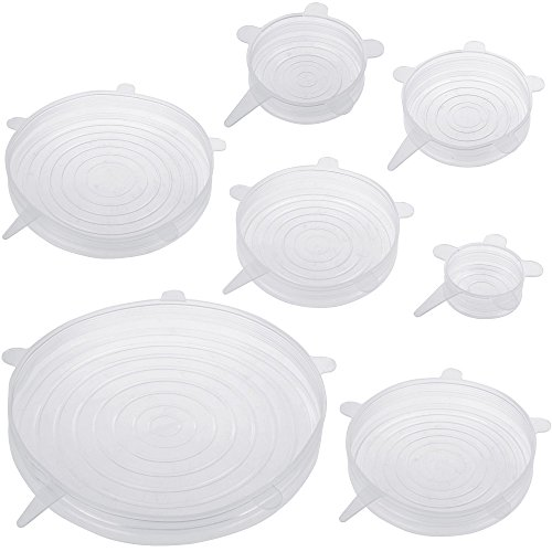Anpro 7 Pack Silicone Stretch Lids Cover Silicone Food Cover Reusable, Durable and Expandable Food Stretch Lids Silicone Bowl Lids to Keep Food Fresh, Dishwasher and Freezer Safe