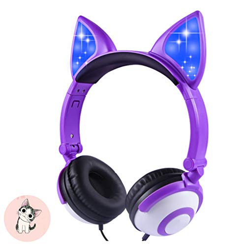 Kids Headphones, Snowwicase – Wired Headphones for Kids,with LED Glowing Cat Ears Headphones,Foldable Over-Ear Gaming Headsets for Kindle/iPad/Children/Teens/Boys/Girls (Purple)