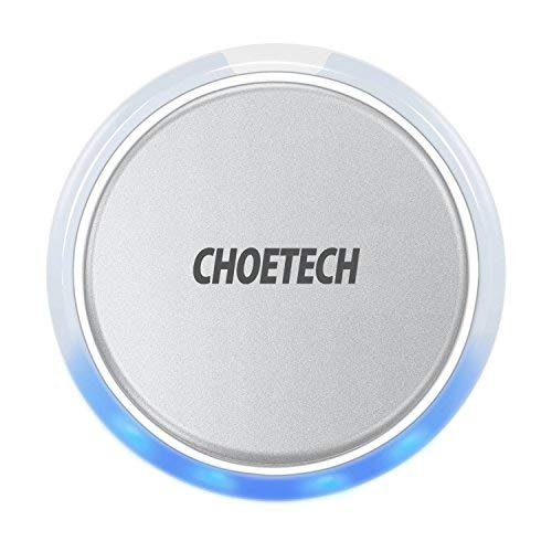 CHOETECH Wireless Charger, Aluminum Alloy Wireless Charging Pad Compatible iPhone Xs Max/XS/XR/X/8/8 Plus, Samsung Galaxy S10/S10+/S10E/S9/S9+/S8, New AirPods and More Qi-Enabled Phones(Silver) ()