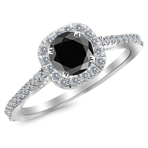 2.35 Carat 14K White Gold Gorgeous Classic Cushion Halo Style Diamond Engagement Ring with a 2 Carat Black Diamond Center (Heirloom Quality)