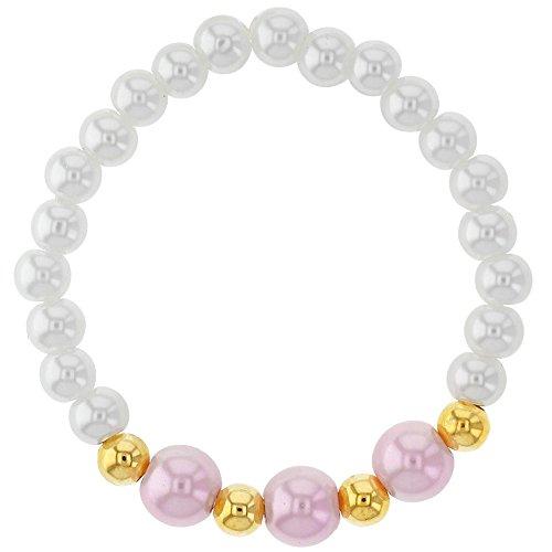 14K plaqué or réglable stretch Blanc fausses perles Rose bébé Bracelet 10,2cm