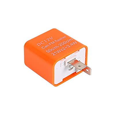 Tbest Flasher Relay,2-Pin Flasher Relay Universal Motorcycle Turn Signal Indicator Relay 2-Pin Speed Adjustable LED Flasher Relay 12V(Orange): Automotive