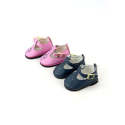 American Fashion World 2 Pack of Mary Janes with Buckle: Pink and Navy fits 18 Inch Doll: Toys & Games