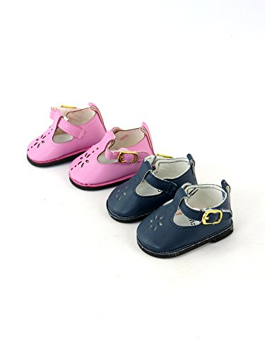 2 Pack of Mary Janes with Buckle: Pink and Navy-Fits 18