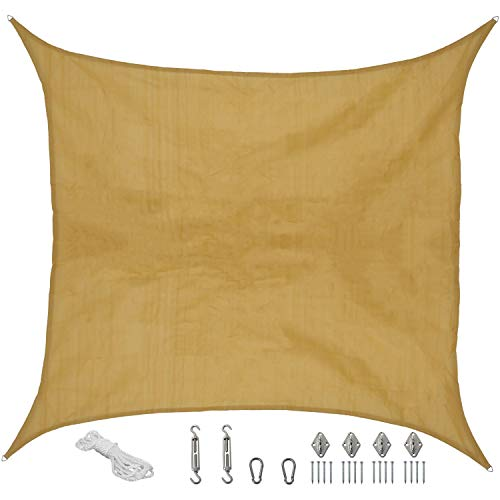 Sunnydaze Beige Square Sun Shade Sail with Hanging Hardware, 16.5-Foot