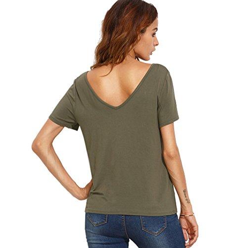 Blusas de Mujer de Moda 2017 Camiseta Lace Up Camisa Manga Corta V Cuello T-shirt Verano Casual Color Sólido Top - Landove Verde