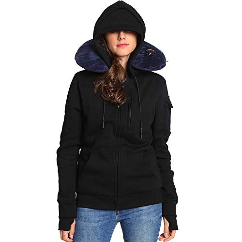 BOMBAX Women Travel Jacket Hoodie 10 Pocket Flight Bomber Sweatshirt Coat+Pillow (Black, Large(Asian Size))