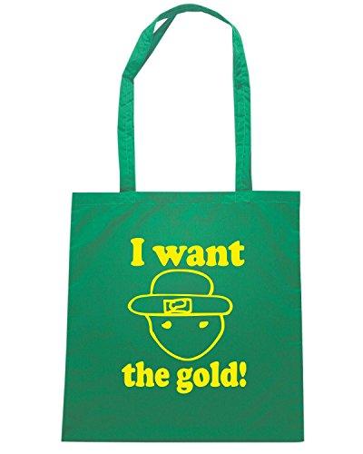T-Shirtshock - Bolsa para la compra FUN0017 01 19 2013 I Want Gold T SHIRT det Verde