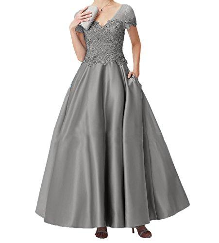 Abschlussballkleider Charmant Spitze Lang Grau Promkleider Rock Abendkleider Damen Brautmutterkleider Linie Kurzarm A YYgpUqr