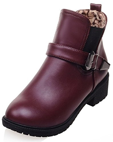 Easemax Women's Stylish Buckle Low Chunky Heeled Round Toe Short Ankle High Martin Boots Brown vluXp