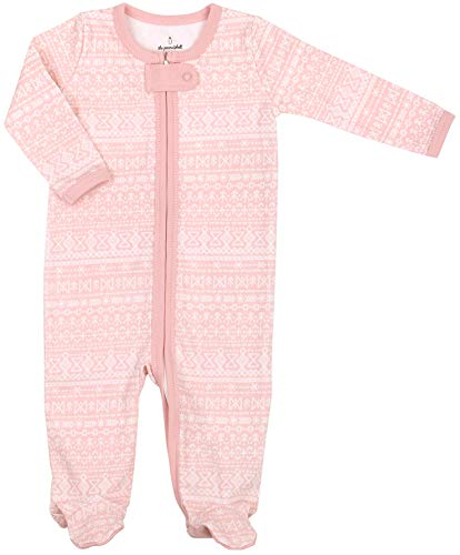 The Peanutshell Soft Baby Footie Pajama Sleeper and Bodysuit - Pink Folk Stripe -