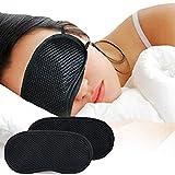 Eye Mask - Honghong Bamboo Charcoal Cotton 3D Sleeping Nap Travel Office Eye Shade Blindfold Cover - Black