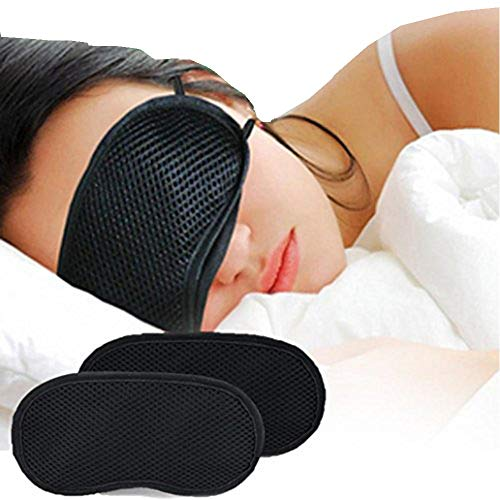 Eye Mask - Honghong Bamboo Charcoal Cotton 3D Sleeping Nap Travel Office Eye Shade Blindfold Cover - Black by Honghong (Image #4)