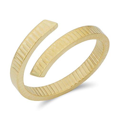 14k Yellow Gold Diamond-Cut Bypass Ring (size ()