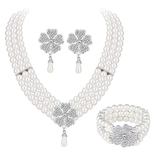 - MOOCHI Silver Plated 3-Strands Simulated Pearls & Flower Necklace Earrings Jewelry Set