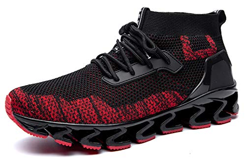 SKDOIUL Black Red Sneakers for Men mesh Breathable Comfortable Springblade Fashion Sports Running Shoes Youth Big Boys Walking Shoes Plus Size 10 (8827-Blackred-44)