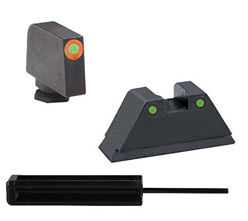 "AmeriGlo GL-452 Glock 17-41 Supressor Height Set Orange Outline, 140"" Wide Front, 150"" Notch, Green Tritium 2-Dot Black Outline Rear + Ultimate Arms Punch Tool"