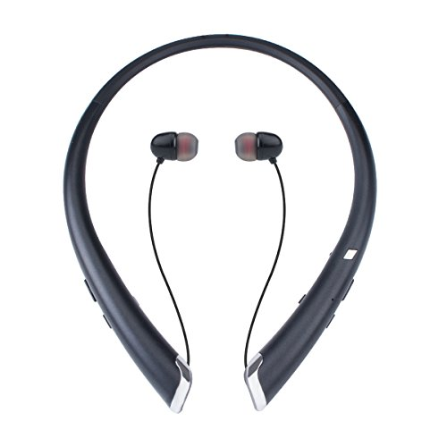Bluetooth Headphones, Wireless Earbuds Retractable Neckband Headset Stereo Sweat-proof Sports Earphones with Mic (2018 Upgraded Version, 15 Hours Play Time, Black)