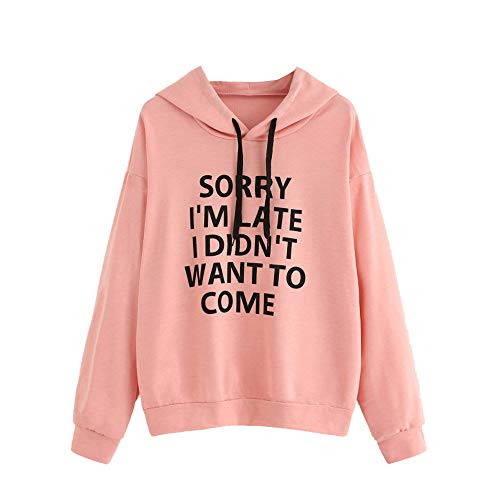 Sunhusing Women's Fashion Loose Hooded Jumper Pullover Letter Printed Casual Short Shirt Tops