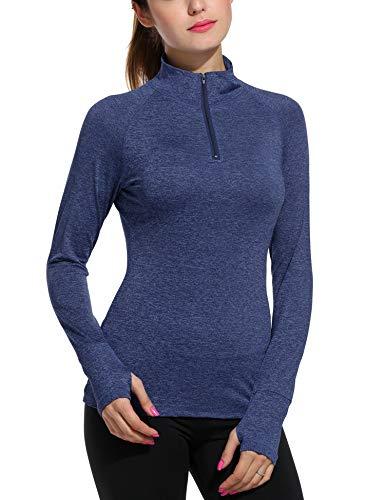 (ELESOL Women's Long Sleeve Workout Tee Running Gym Sports T-Shirt Fast Dry Blue L)