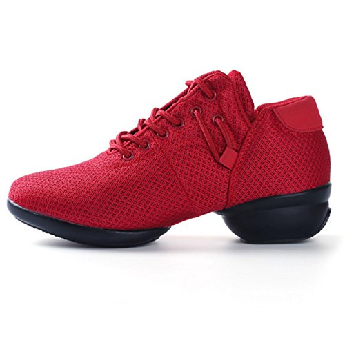 Women's Mesh Jazz Shoes Lady Girls Modern Split-Sole Dance Sneakers for Ballroom Breathable -