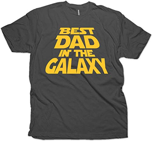 Best Dad in The Galaxy T-Shirt, for Dad & Sticker. 3XL (Charcoal) (Best Dad In The Galaxy Shirt)
