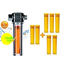UBS INC Luxury Vita-Fresh Shower Filter (Vitamin C Inline ShowerFilter) with 8 longer lasting Vitamin C Filter Cartridge