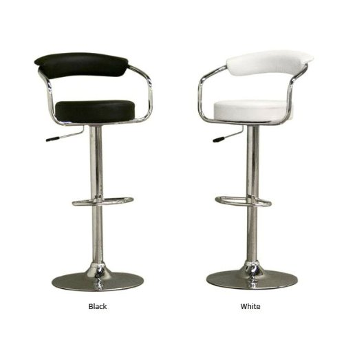 South Mission Sigma High-Back Faux Leather Contemporary Adjustable Bar Stool - White (Single) ()