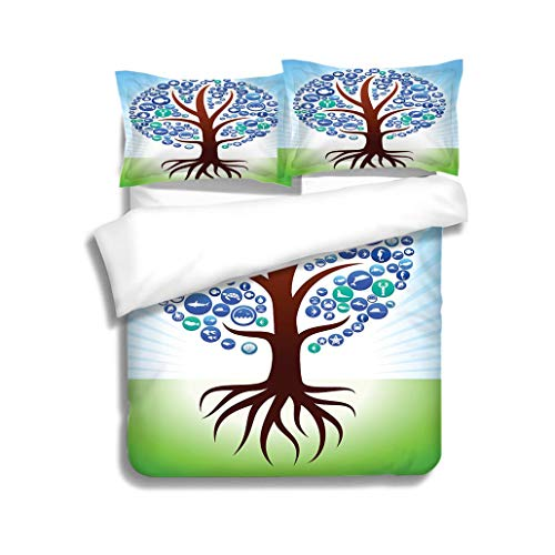 (MTSJTliangwan Duvet Cover Set Tree with Roots Sea and Marine Life Button Pattern 3 Piece Bedding Set with Pillow Shams, Queen/Full, Dark Orange White Teal Coral)