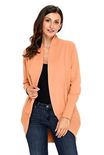 KCatsy Womens Sweater Long Sleeve Solid Color Large Size Knitted Waterfall Collar Cardigan Flat Needle Jacket -