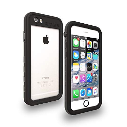 iPhone 6/6s Waterproof Case, Yuker Anti-Scratch Built in Screen Protector, Full Body Protection, IP68 Certified with Touch ID Shockproof Dirtproof Snowproof Waterproof Case for iPhone 6/6s (Black) (Waterproof Case For Iphone 6)