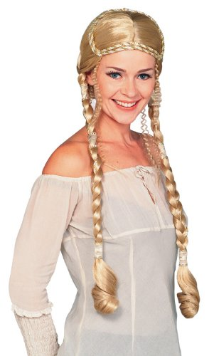Rubie's Costume Blond Renaissance Lady Wig with Braids, Yellow, One Size
