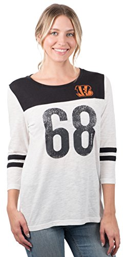 ICER Brands Women's T Vintage 3/4 Long Sleeve Tee Shirt, White, X-Large