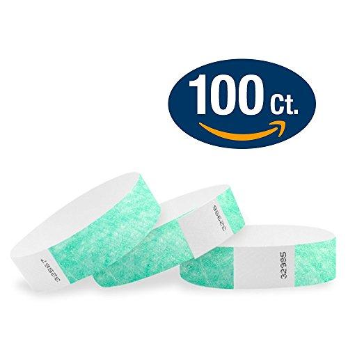 WristCo Aqua 3/4' Tyvek Wristbands - 100 Pack Paper Wristbands For Events