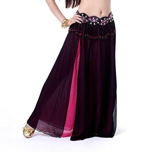YESIDO Women India Style Dance Costume Belly Dance Split Sides Long Chiffon Skirt + Waist Chain Black B