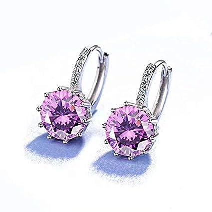bea90d8c6 Jewellers 925 Sterling Silver Rhinestones Hoop Stud Earrings for  Women,Pink: Amazon.co.uk: DIY & Tools