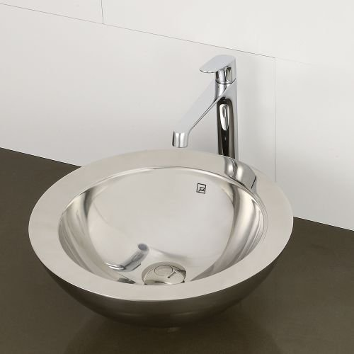 DECOLAV 1228-B Simin Stainless Steel Round Above-Counter Vessel Sink with Overflow, Brushed