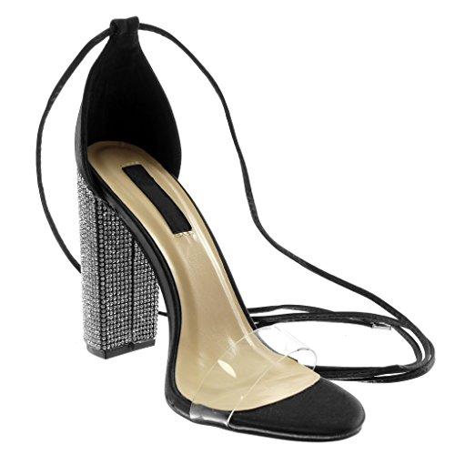 Ouverte Bloc Strass 11 Mode Diamant Noir Haut cm Transparent Angkorly Chic Chaussure Montante Talon Sandale Escarpin Femme wX58qOx6C