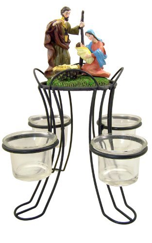 (Holy Family Nativity of Christ Advent Wreath Votive Candle Holder Christmas Centerpiece Decoration)
