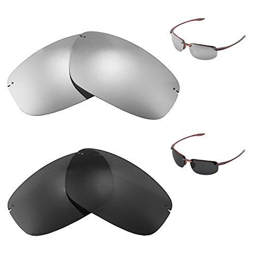 Walleva Polarized Titanium + Black Replacement Lenses For Maui Jim Ho'okipa - Maui Hookipa