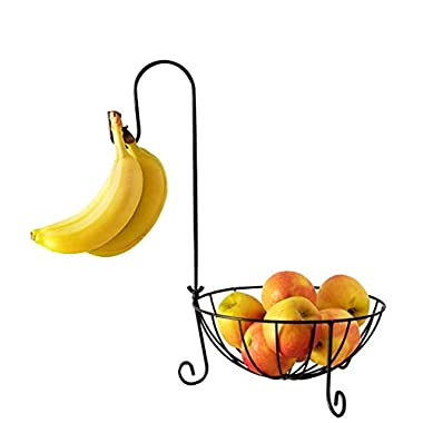 Fruit Basket with Detachable Banana Hanger Hook - A Countertop Produce Wire Basket Storage to Hold Potatoes, Tomatoes, Onions and Vegetables - 10  DIA x 17  H