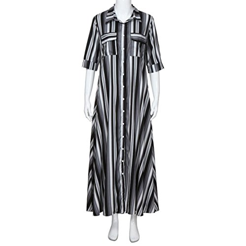 AMOFINY New Women Boho Striped Multicolor Loose Button Beach Party Long Dresses by AMOFINY-Dress (Image #3)