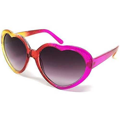 LOOSE LEAF Eyewear Kids Girls Glitter Heart-Shaped Multicolor Sunglasses with Llama Print Case
